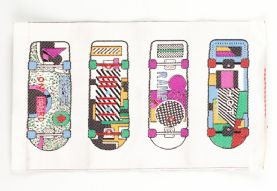 Multi-coloured Skateboard Sew-on Applique Patch